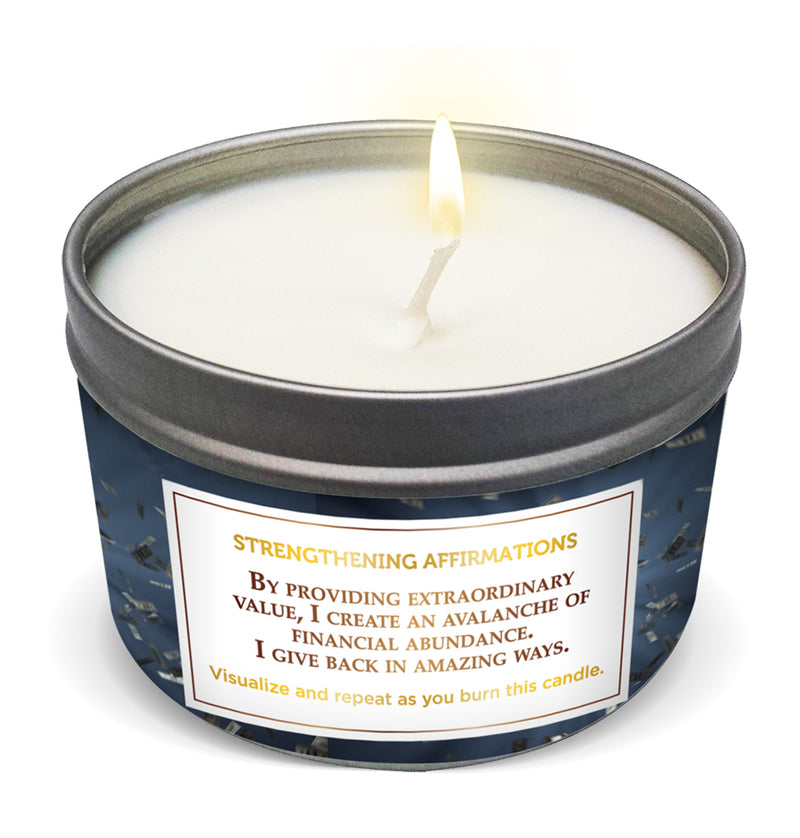 """MONEY COMES TO ME EASY"" Affirmation Candle"