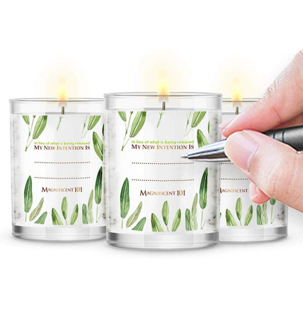PURE SAGE Energy Cleansing Set of 3 Candles