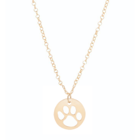 "Paw Print 16"" Necklace Gold"