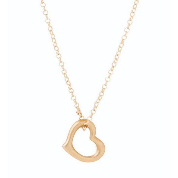 "Love Gold Charm-16"" Necklace Gold"