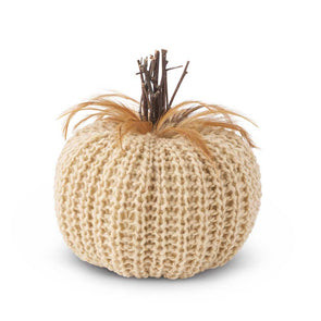 Cream Crochet Pumpkin- 7.5 inches