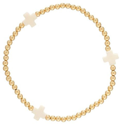 Signature Cross Gold Pattern 3mm Bead Bracelet-Off White