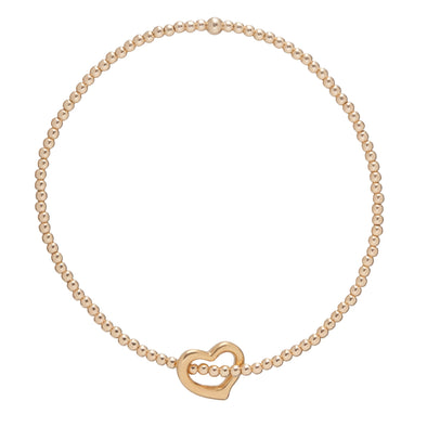 Classic Gold 2mm Bead Bracelet - Love Gold Charm