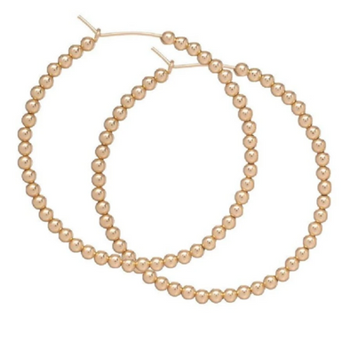 "Beaded gold 1.75"" hoop - 3mm bead gold"