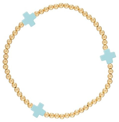 Signature Cross Gold Pattern 3mm Bead Bracelet-Turquoise