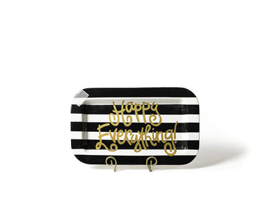 Black Stripe Mini Happy Everything Rectangle Platter STORE PICK UP ONLY