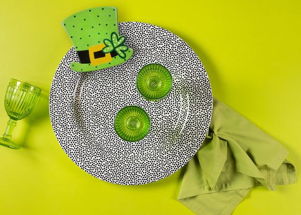 Black Small Dot Big Happy Everything Entertaining Round Platter STORE PICK UP ONLY