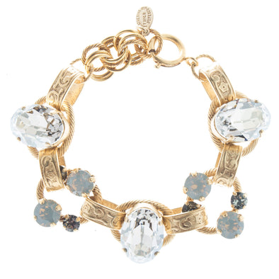 Oval Stone Ornate Bracelet with Crystals - Shade Opal