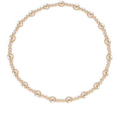 Classic Sincerity Pattern 4mm Bead Bracelet- Gold