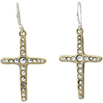 Amor Fati Single Cross Earrings in Brass