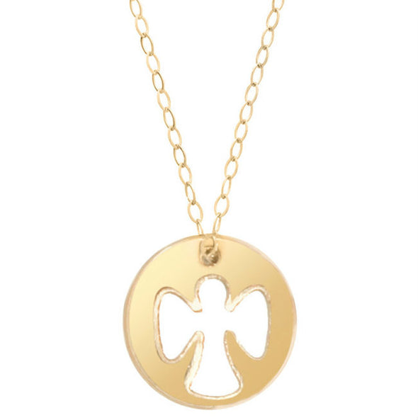 "Guardian Angel Charm 16"" Necklace Gold -"