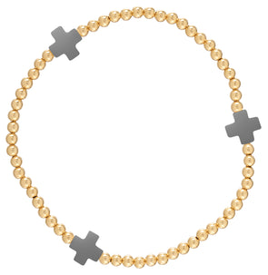 Signature Cross Gold Pattern 3mm Bead Bracelet-Charcoal