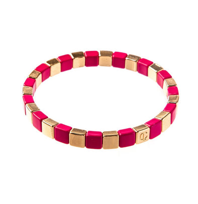 Caryn Lawn Tiny Tile Bracelet - Gold/Hot Pink