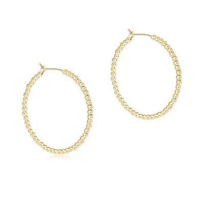 "Beaded gold 1.25"" hoop - 2mm Bead"