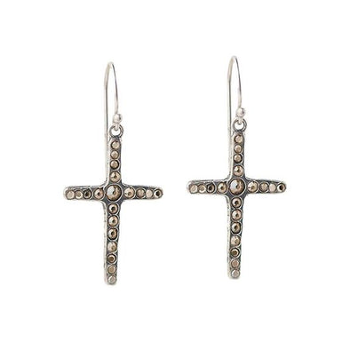 Amor Fati Single Cross Earrings in Sterling Silver
