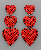 Heart Earrings- Red Triple