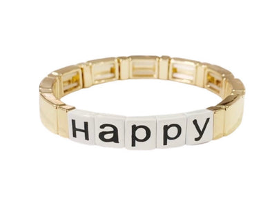 Caryn Lawn Word Tile Bracelet - Happy