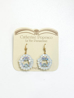 White Opal Crystal Earrings
