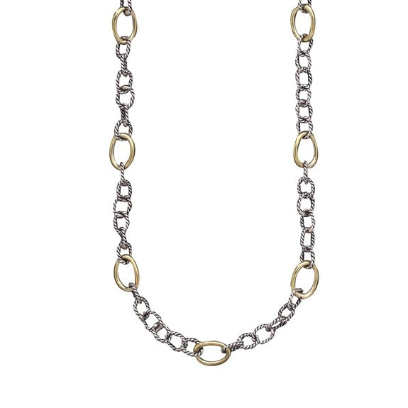 Twisted Link with Brass Rings Chain - 18 Inch