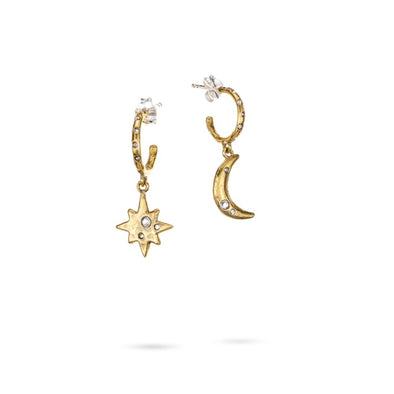 Edenic Celestial Moon and Star Huggie Hoop Earrings