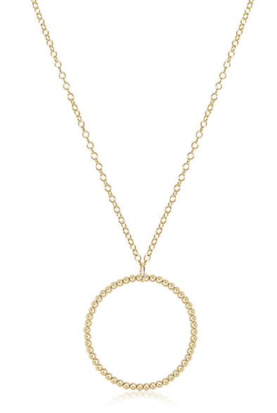 "31"" Classic Bead Halo Gold Charm 3mm Gold Necklace"