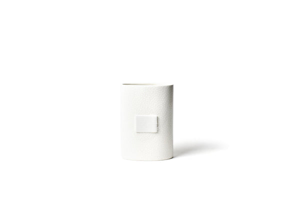 White Small Dot Mini Happy Everything Oval Vase