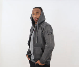Men's Black Hoodie Jacket with Special Textured Fabric