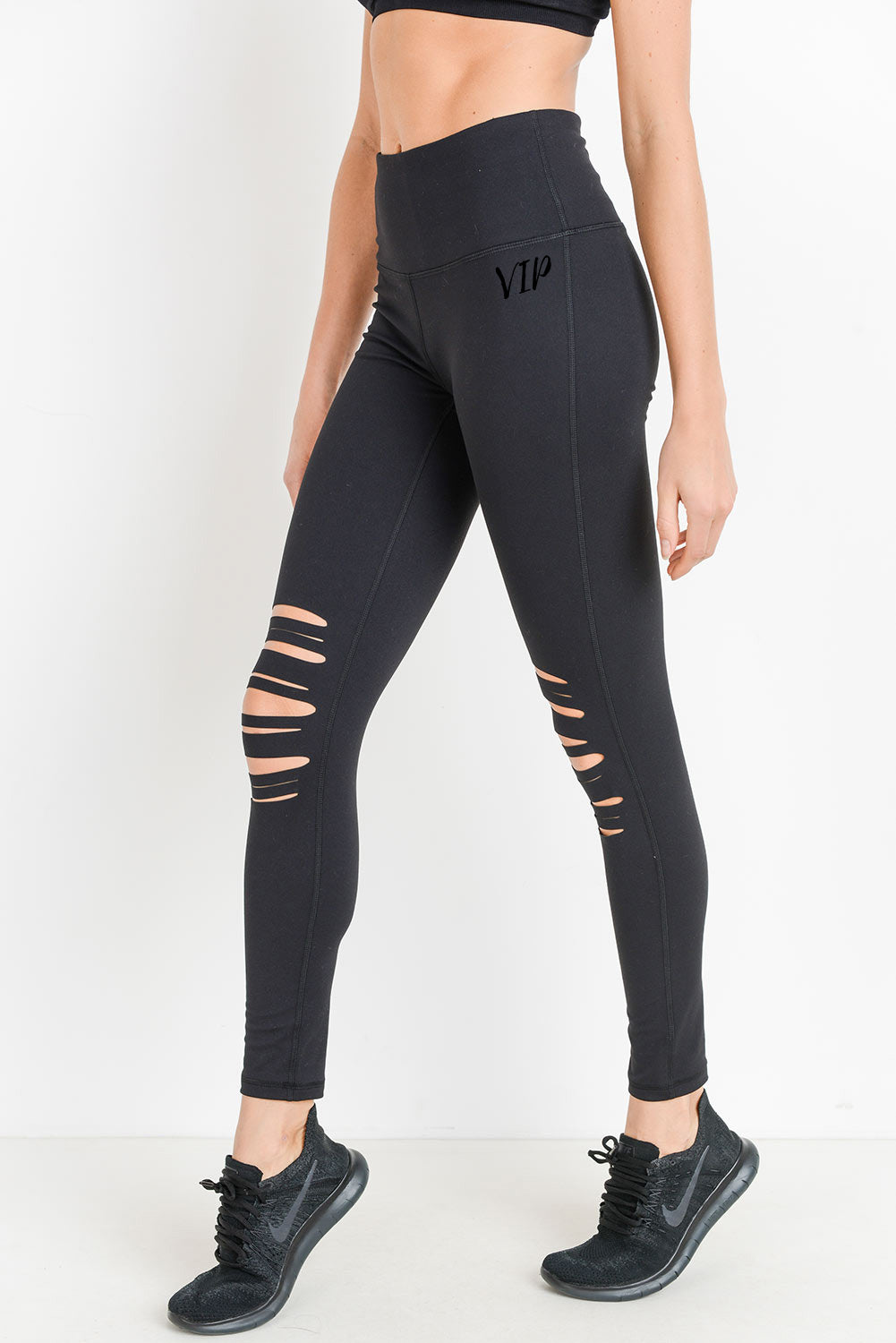 Women's Black Highwaist Shredded Knee Laser Leggings