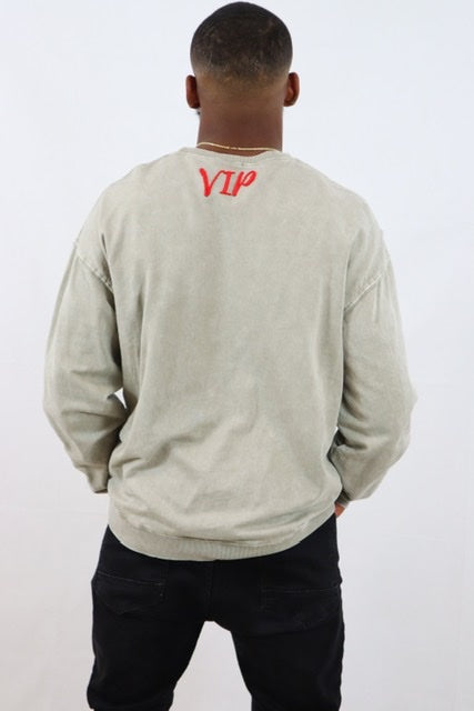 Men's Taupe Mineral Wash Cotton Pullover