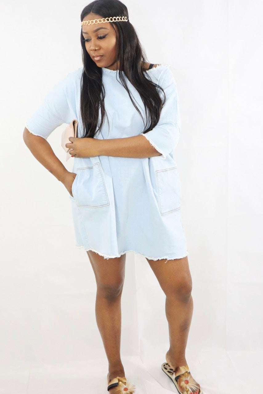 Women's Short Denim Loose Boxy Dress