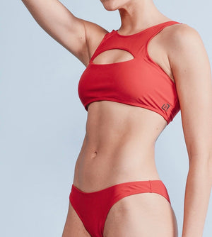 Women's Red Peekaboo X-Front Bikini Set