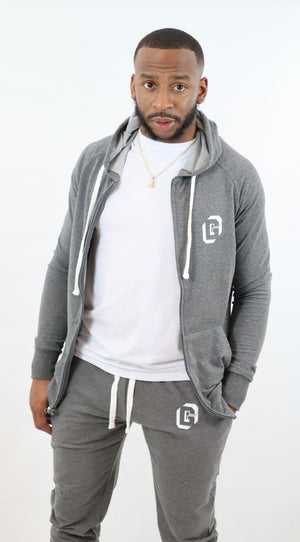 Men's Grey Zip-up Hoodie Terry Jacket