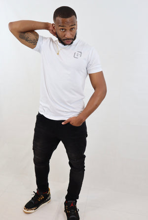 Men's White Supima® Blend Garment-Dyed Crewneck Tee