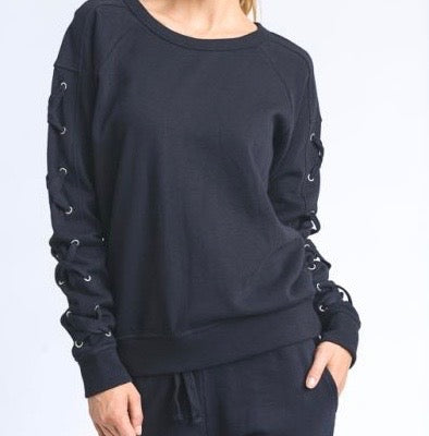 Women's Black Lace Sleeve Sweater