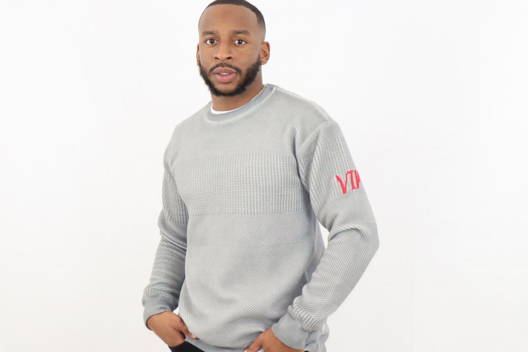 Men's Grey Pullover with Special Textured Fabric