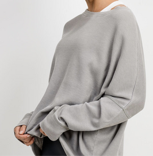 Women's Light Grey Waffle Ribbed Roundneck Pullover