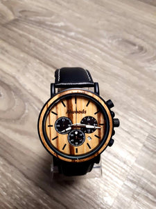 Mens wood watch. Wood, metal and leather