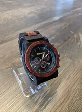 Load image into Gallery viewer, Alwoods wood watch. Ebony and red sandal wood