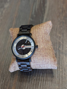 Alwoods wood watch. Ebony and stainless