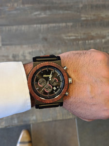 Alwoods wood watch. Ebony and red sandal wood