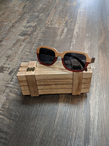 Brown & Red wood sunglasses