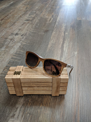 Light Brown and white wood sunglasses