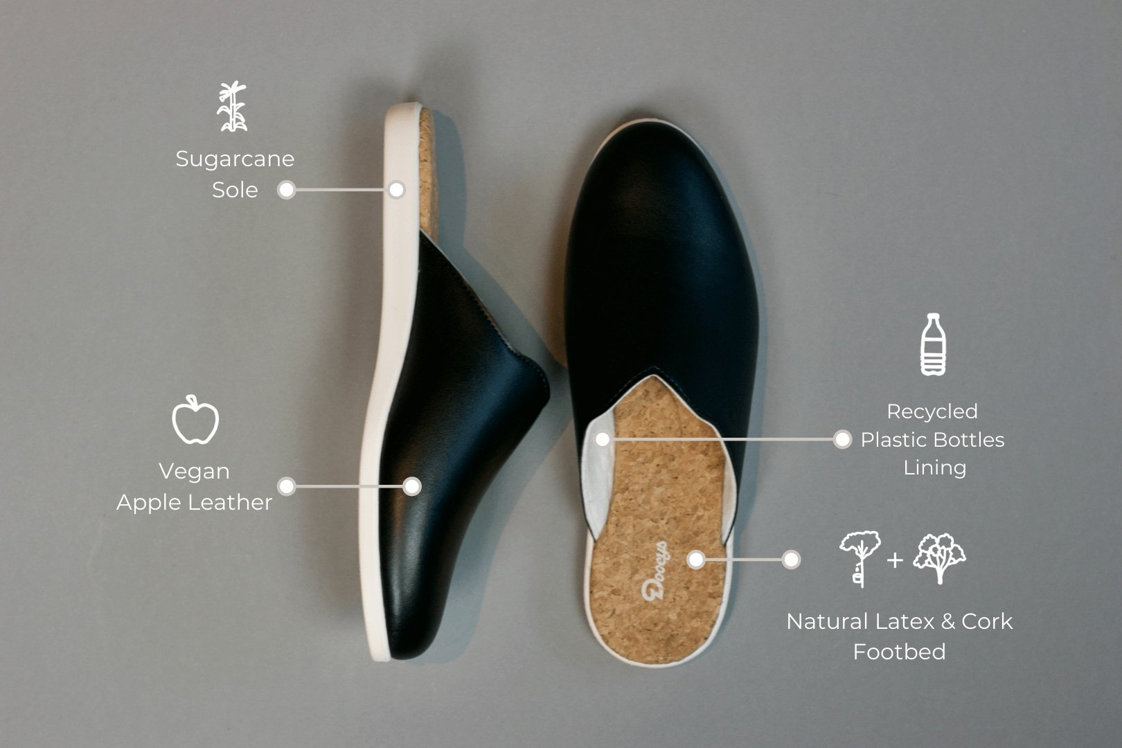 Black Mules - Dooeys - Sustainable House Shoes