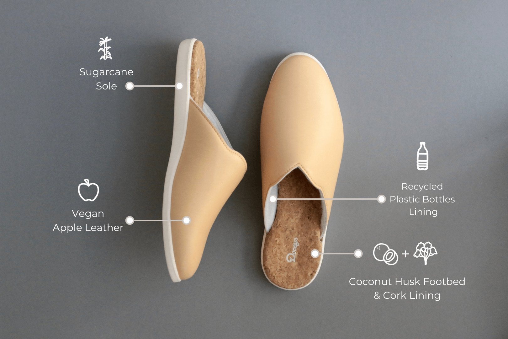Women's House Shoes - Sustainable Slippers - Honey Beige Mules