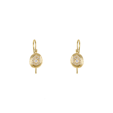 Textured Diamond Drop Earrings
