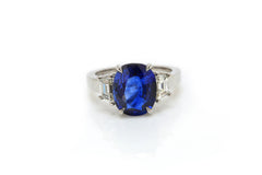 Sapphire Ring with Diamond Trapezoids