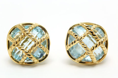 Blue Topaz Rope Basket Earrings
