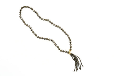 Pyrite Tassel Necklace