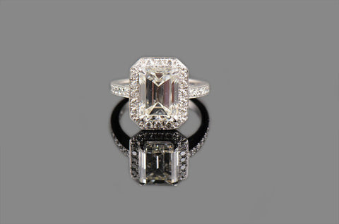 Emerald Cut with Diamond Border