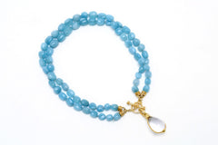 Double-Strand Aquamarine Toggle Necklace